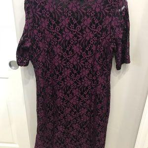 Purple/black lace maternity dress